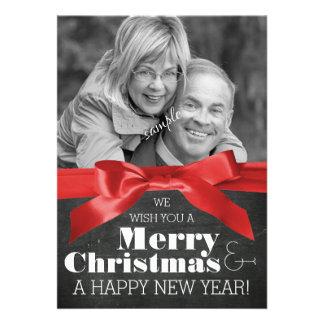 Holiday Couple Photo Chalkboard and Ribbon Xmas Cards
