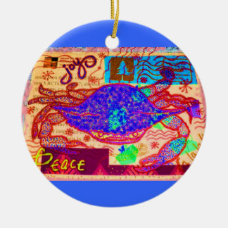 Holiday Crab Collage Round Ceramic Decoration