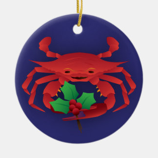 Holiday Crab with Holly Ceramic Ornament