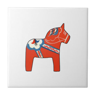 Holiday Dala Horse Small Square Tile