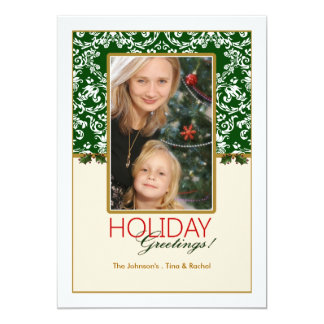Holiday Damask and Holly Photo Card 13 Cm X 18 Cm Invitation Card