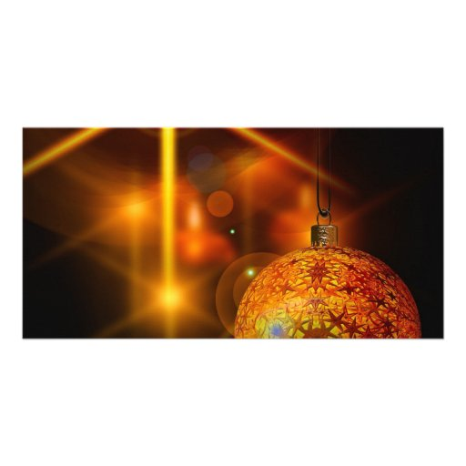 Holiday Decoration Gold Christmas Bauble Light Photo Greeting Card