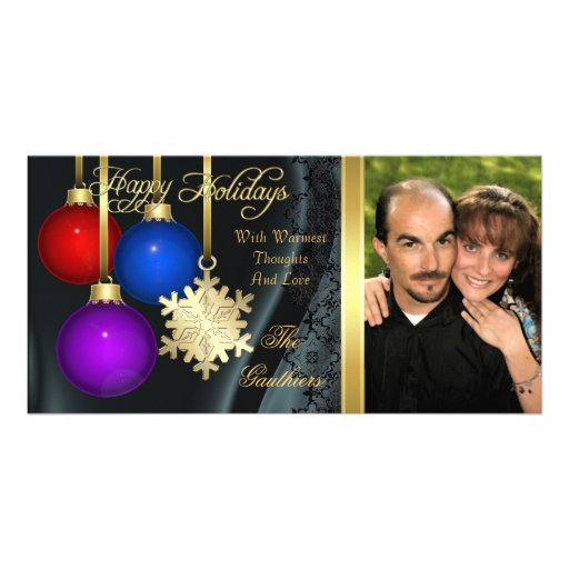 Holiday Decorations Black Silk Gold Photo Card