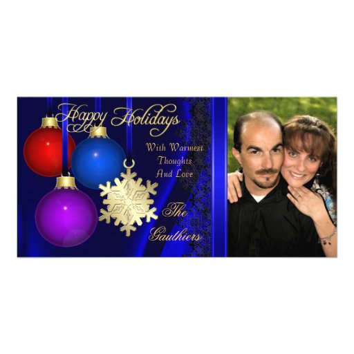 Holiday Decorations Blue Silk Gold Photo Card