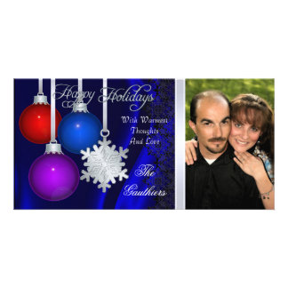 Holiday Decorations Blue Silk Silver Photo Card