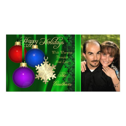 Holiday Decorations Green Silk Gold Photo Card