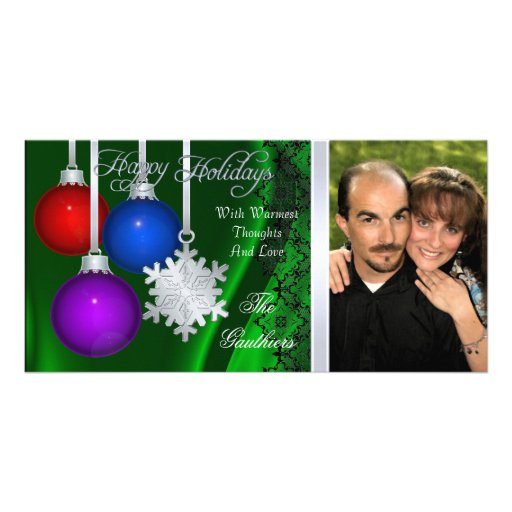 Holiday Decorations Green Silk Silver Photo Card