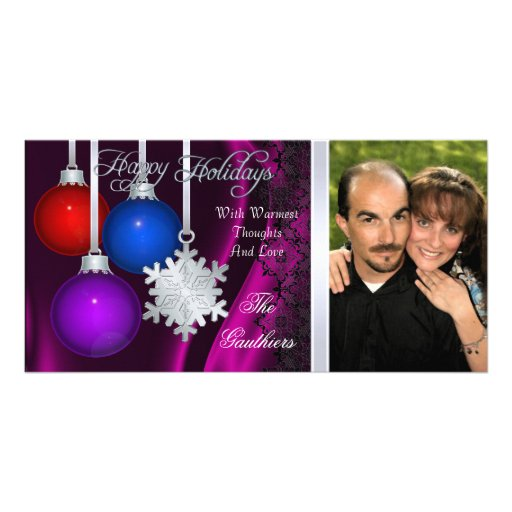 Holiday Decorations Pink Silk Silver Photo Card