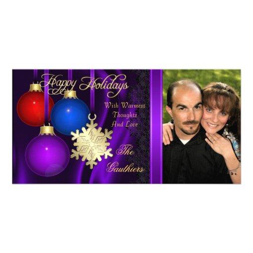 Holiday Decorations Purple Silk Gold Photo Card