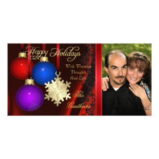 Holiday Decorations Red Silk Gold Photo Card