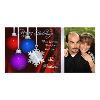 Holiday Decorations Red Silk Silver Photo Card