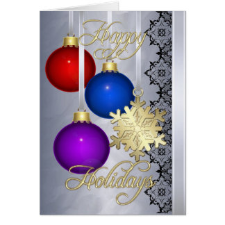 Holiday Decorations Silver Foil Gold Card