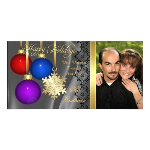Holiday Decorations Silver Silk Gold Photo Card