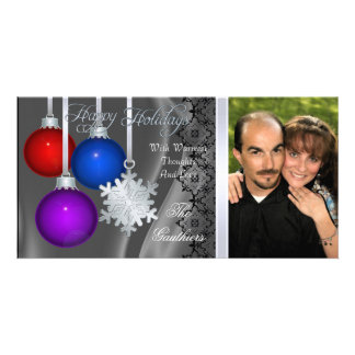Holiday Decorations Silver Silk Silver Photo Card