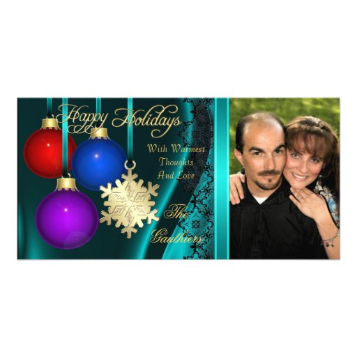 Holiday Decorations Teal Silk Gold Photo Card