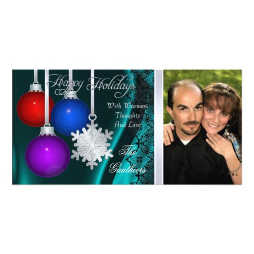Holiday Decorations Teal Silk Silver Photo Card