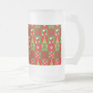 Holiday Decorative Squares Frosted Glass Beer Mug
