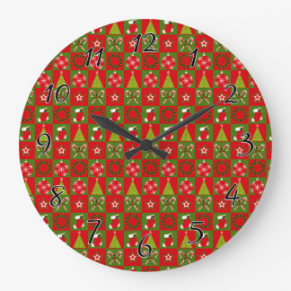 Holiday Decorative Squares Large Clock