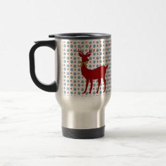 Holiday Deer (Red) on Xmas Ornaments Travel Mug