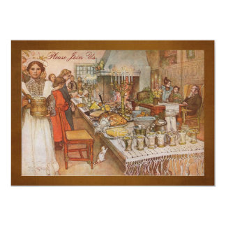 """Holiday  Dinner Party with Carl Larsson 5"""" X 7"""" Invitation Card"""