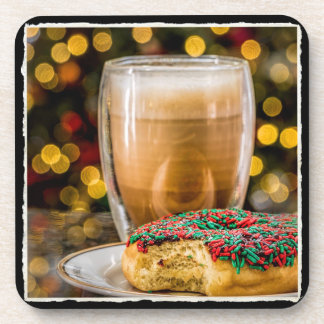 Holiday Donut & Coffee Plastic/Cork Coaster