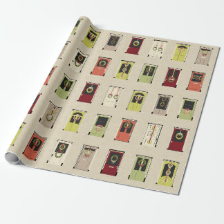 Holiday doors wrapping paper