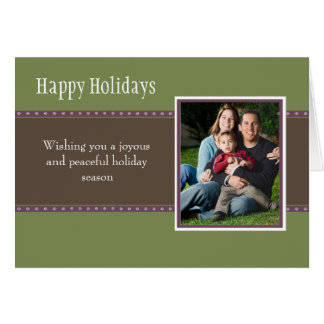 Holiday Dots Folded Card- green/plum