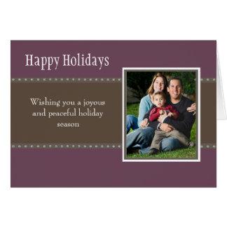 Holiday Dots Folded Card- plum/stone