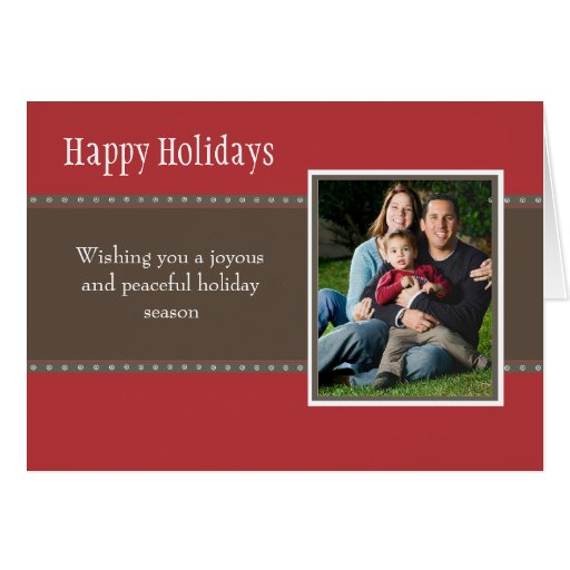 Holiday Dots Folded Card- red/stone