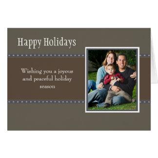 Holiday Dots Folded Card- stone/navy