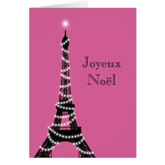 Holiday Eiffel Tower Card fuchsia