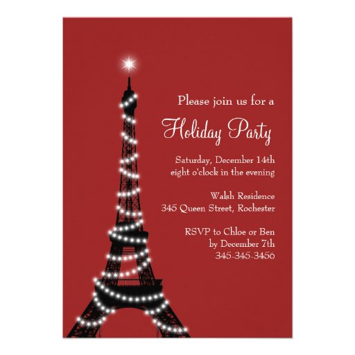 Holiday Eiffel Tower Invitation red