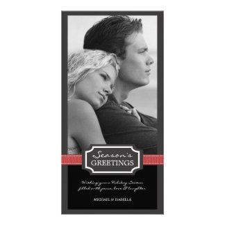 Holiday Elegance Season's Greeting Red Ribbon Personalized Photo Card