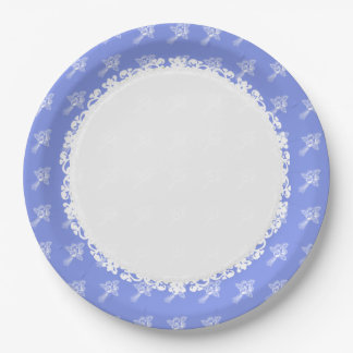 HOLIDAY-EVERYDAY -Blueberry-White_ROSES Paper Plate