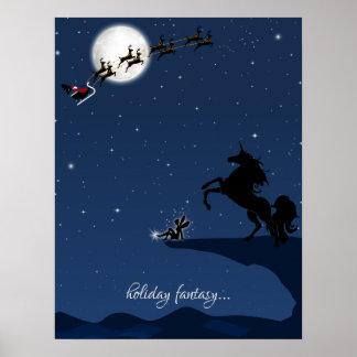 holiday fantasy ~ Full Moon, Santa, Unicorn, Fairy Poster