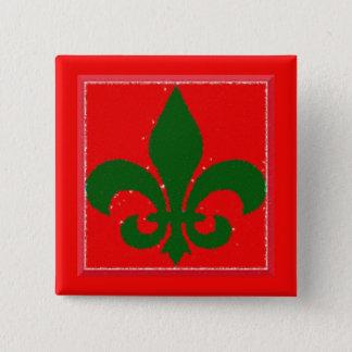 Holiday Fleur De Lis Button