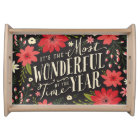 Holiday Floral Serving Tray