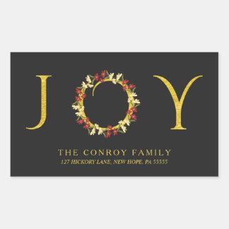 Holiday Floral Wreath Black & Gold Return Address Rectangular Sticker