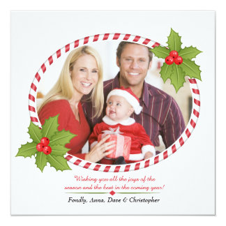 Holiday Frame With Holly Card 13 Cm X 13 Cm Square Invitation Card