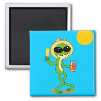 Holiday Frog Square Magnet