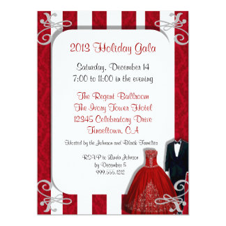 Holiday Gala Invitations in Red and Silver