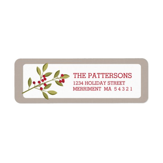 Holiday Garland Christmas Berry Address Label