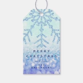 Holiday Gift  Blue Snow Flakes Ombre Ice Glitter Gift Tags