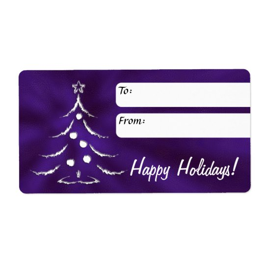 Holiday Gift Label, Christmas Tree, Purple