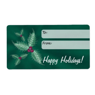Holiday Gift Label, Holly, Green Shipping Label