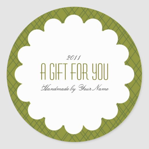 Holiday Gift Label in Green Round Sticker