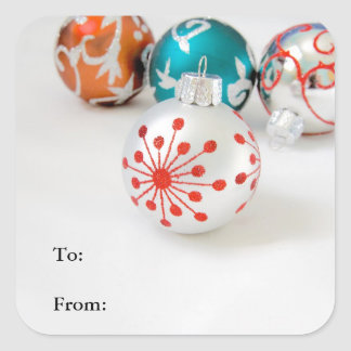 Holiday Gift Labels with Christmas Ornaments