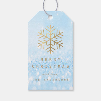 Holiday Gift Tag Glitter Blue Golden Snowflakes