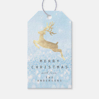 Holiday Gift Tag Glitter Blue Pastel Snow Reindeer