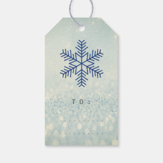 Holiday Gift Tag Glitter Navy Silver Snowflakes